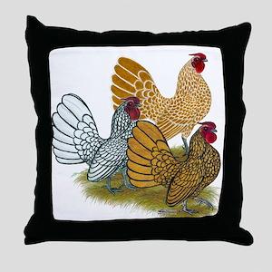 Sebright Rooster Assortment Throw Pillow