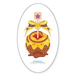 Kawaii Yellow Candy Apple Sticker (Oval)