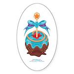 Kawaii Blue Candy Apple Sticker (Oval)