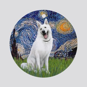 Starry Night - White German Shep. Ornament (Round)
