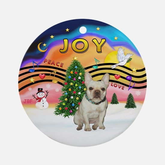 Xmas Music 2 - French Bulldog Ornament (Round)