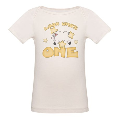 Lamb Stars First Birthday Organic Baby T-Shirt