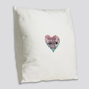 To moon and back Burlap Throw Pillow