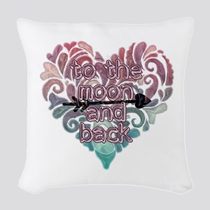 To moon and back Woven Throw Pillow