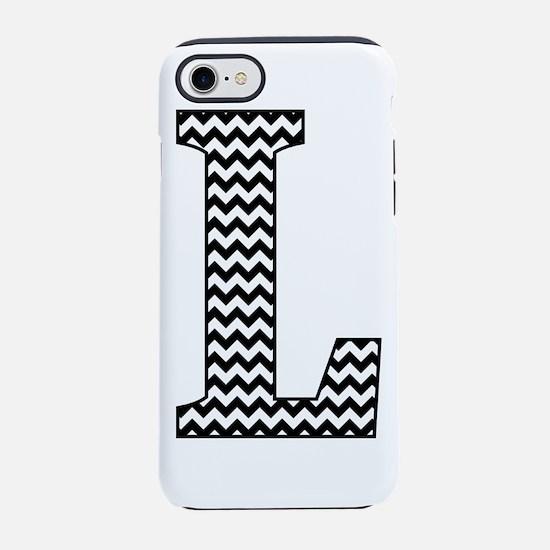 Black and White Chevron Letter L Monogram iPhone 7