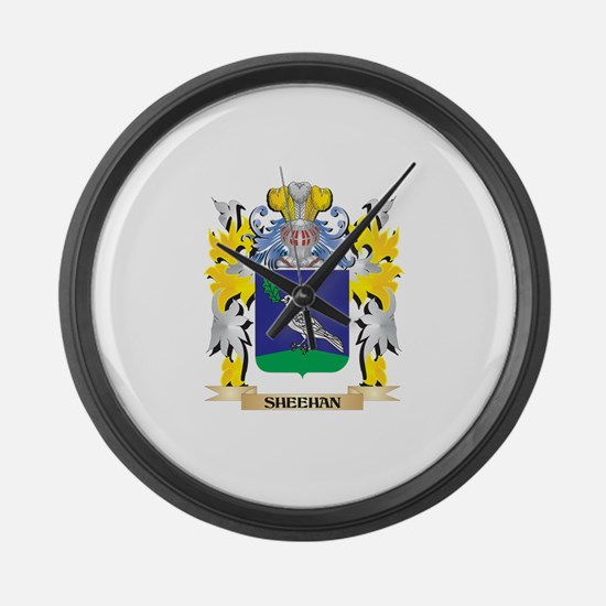 Sheehan Family Crest - Coat of Ar Large Wall Clock