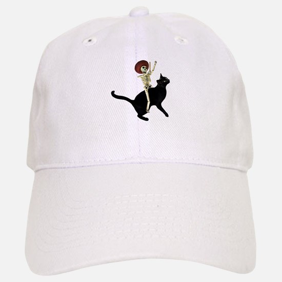 Skeleton on Cat Baseball Baseball Cap