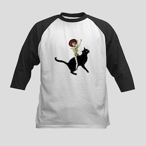 Skeleton on Cat Kids Baseball Jersey