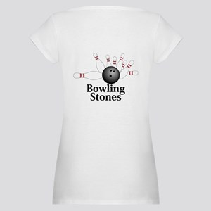 Bowling Stones Logo 2 Maternity T-Shirt Back Only