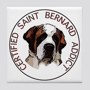 saint bernard addict Tile Coaster