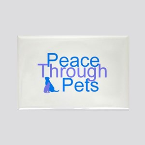 Peace Through Pets Rectangle Magnet