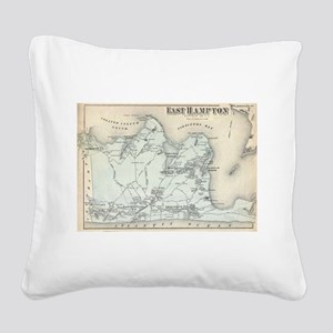 Vintage Map of East Hampton N Square Canvas Pillow