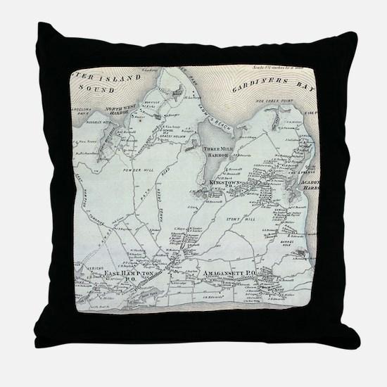 Vintage Map of East Hampton New York Throw Pillow