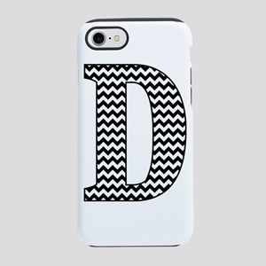 Black and White Chevron Letter D Monogram iPhone 7