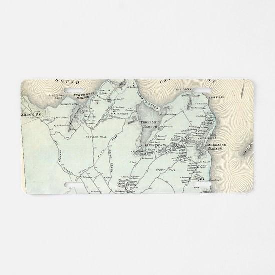 Vintage Map of East Hampton Aluminum License Plate