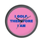 I golf, therefore I am (pink) Wall Clock