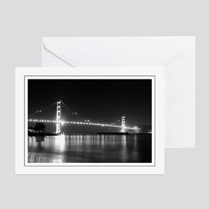 Golden Gate Night B&W Greeting Cards (Pk of 10