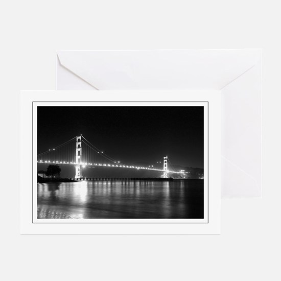 Golden Gate Night B&W Greeting Cards (Pk of 10
