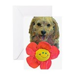 puppy flower power Greeting Cards