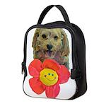puppy flower power Neoprene Lunch Bag
