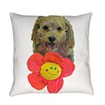 puppy flower power Everyday Pillow