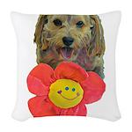 puppy flower power Woven Throw Pillow