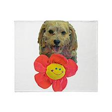 puppy flower power Throw Blanket