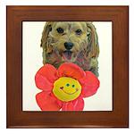 puppy flower power Framed Tile