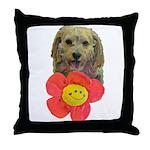puppy flower power Throw Pillow