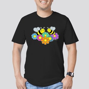 Bees & Flowers Men's Fitted T-Shirt (dark)