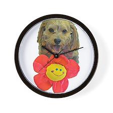 puppy flower power Wall Clock