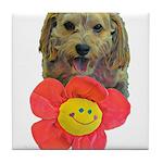 puppy flower power Tile Coaster