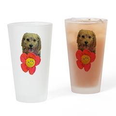 puppy flower power Drinking Glass