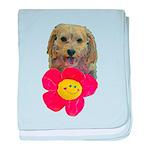 puppy flower power baby blanket