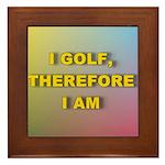 I golf, therefore I am (pink) Framed Tile