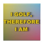 I golf, therefore I am (pink) Tile Coaster