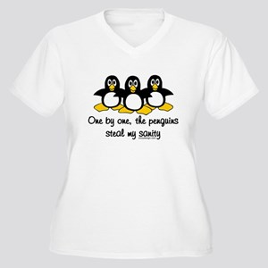 One by one, the penguins.. Women's Plus Size V-Nec