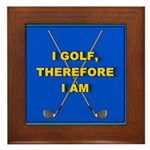 I golf, therefore I am Framed Tile