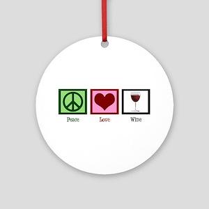 Peace Love Wine Ornament (Round)