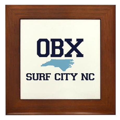 Surf City NC - Map Design Framed Tile