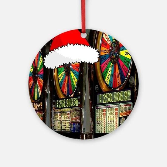 Las Vegas Christmas Slot Mach Ornament (Round)