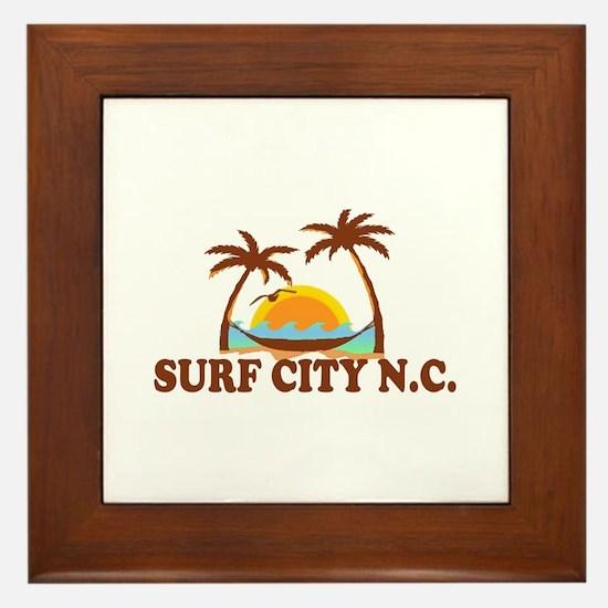 Surf City NC - Palm Trees Design Framed Tile