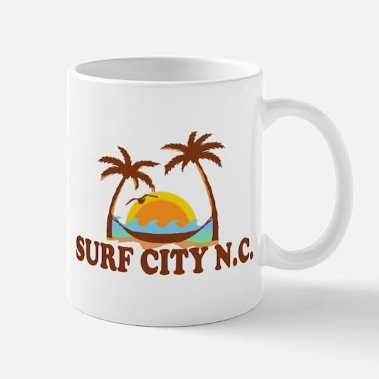 Surf City NC - Palm Trees Design Mug