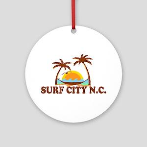 Surf City NC - Palm Trees Design Ornament (Round)