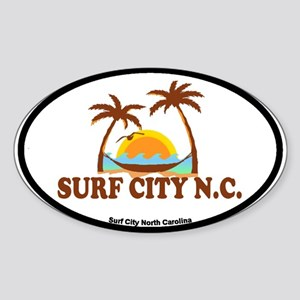 Surf City NC - Palm Trees Design Sticker (Oval)