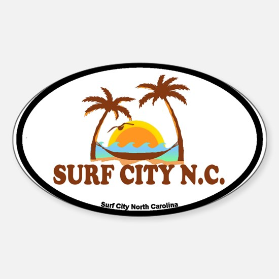 Surf City NC - Palm Trees Design Sticker (Oval)