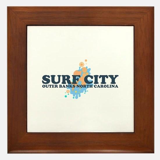 Surf City NC - Seashells Design Framed Tile