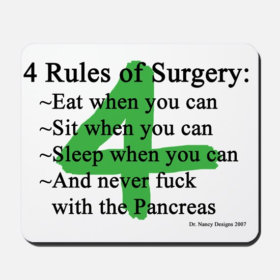 4 Rules of Surgery Mousepad