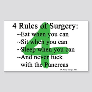 4 Rules of Surgery Sticker (Rectangle)