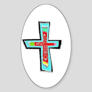 Celebration Cross Oval Sticker